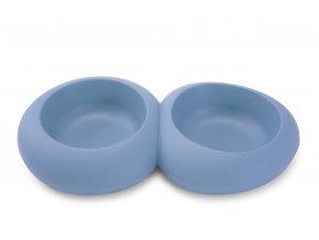 IMAC Designová dvojmiska pro psa plastová 600 + 600 ml - modrá - D 39,5 x Š 23 x V 6,5 cm