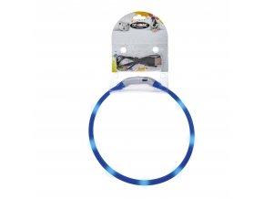 IMAC Svítící LED obojek s USB dobíjením - modrý - obvod 50 cm