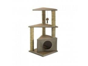 IMAC Škrabadlo s dvěma vyhlídkovými prostory a domečkem pro kočky  - D 40 x Š 40 x V 84 cm