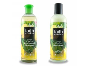 Faith in Nature BIO Vlasová sada proti lupům Citrón a Tea Tree 2x250 ml