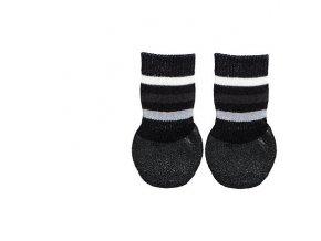 Protiskluzové ponožky černé L-XL, 2 ks pro psy bavlna/lycra