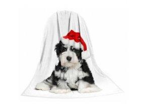 Deka TEXSTAR mikrovlákno 280g 150 x 200 cm, štěně vánoční - DOPRODEJ