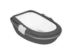 WC BERTO XL - dvojitá nádoba se sítem 69x47x26 cm antrac/bíl