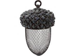 Žalud - zásobník na ptačí krmivo, 700 ml/14×22 cm, pryskyřice/kov, hnědá/bílá