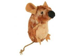 Stojící pískací plyšová myš scatnipem 8cm TRIXIE
