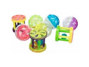 Plastový míček/klec s rolničkou 4,5cm/4cm ( 60ks dóza)