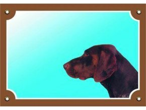 Barevná cedulka Pozor pes, Německý ohař hnědý