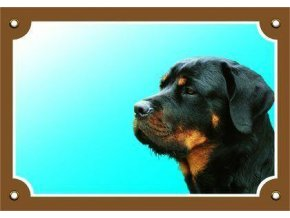 Barevná cedulka Pozor pes, Rottweiler