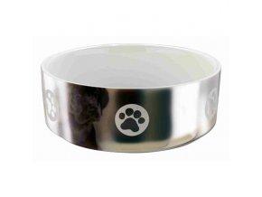 Keramická miska pro psy s packami 0,8 l/15 cm stříbrno/bílá