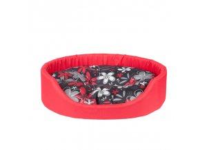 Pelech pro psa Argi oválný s polštářem - červený se vzorem - 46 x 38 x 13 cm