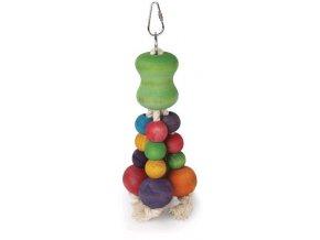 Hračka pták dřevo/bavlna barevné kuličky Tommi 22 cm