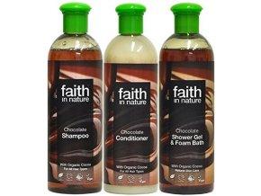 Faith in Nature Koupelová sada BIO čokoládová 3X250 ml