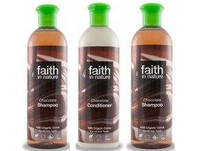 Faith in Nature Koupelová sada BIO čokoládová 3X400 ml