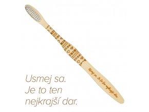 """Mobake Motivační bambusový kartáček - """"Usmej sa..."""" (extra soft)"""