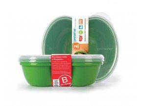 Preserve Svačinový box (2 ks) - zelený ze 100% recyklovaného plastu