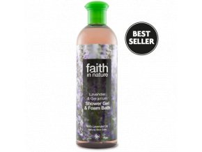 Faith in Nature 2v1 Levandule a Pelargónie sprchový gel a pěna do koupele 250 ml