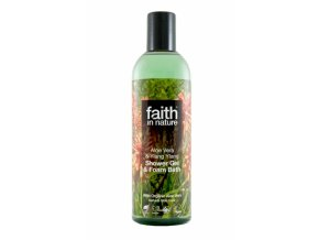 Faith in Nature 2v1 BIO Aloe Vera a Ylang Ylang sprchový gel a pěna do koupele 250 ml