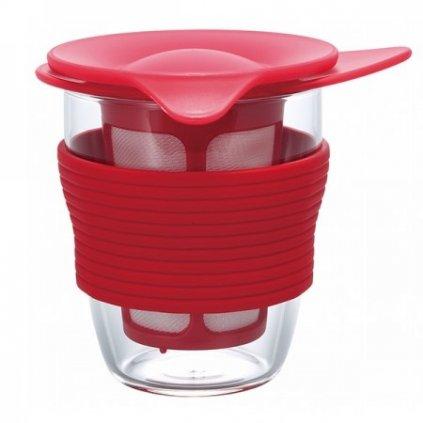 Hrnek na čaj se sítkem - Hario 200 ml (červený)