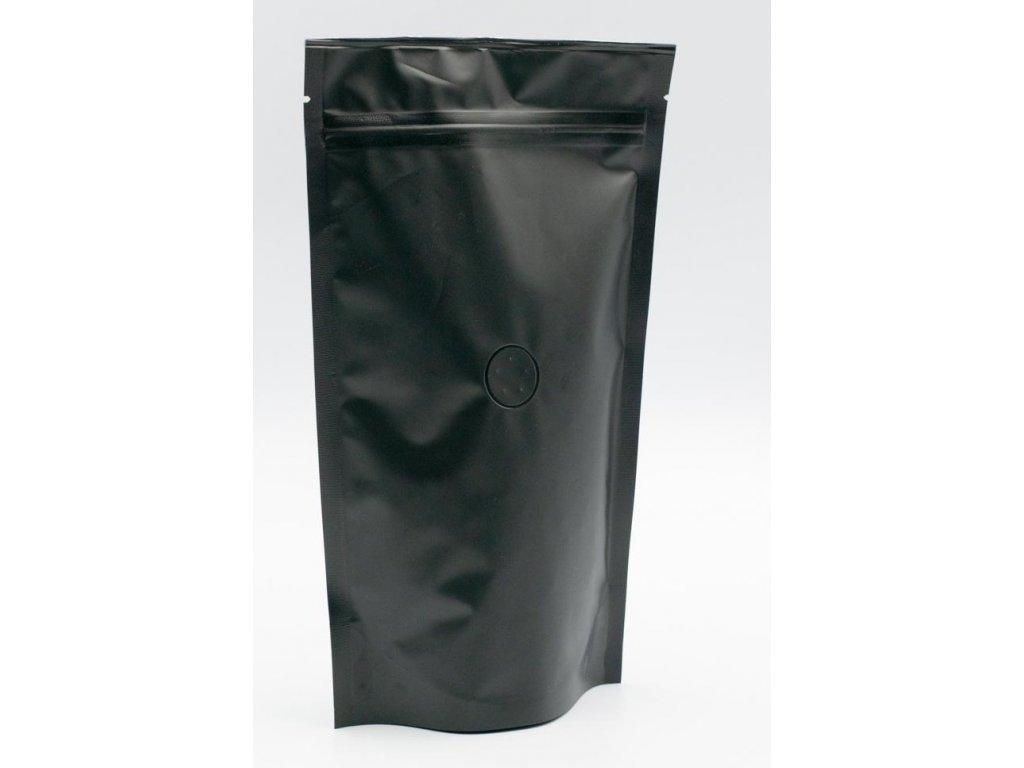 Vrecká na kávu matné čierne zip + ventil 500 g