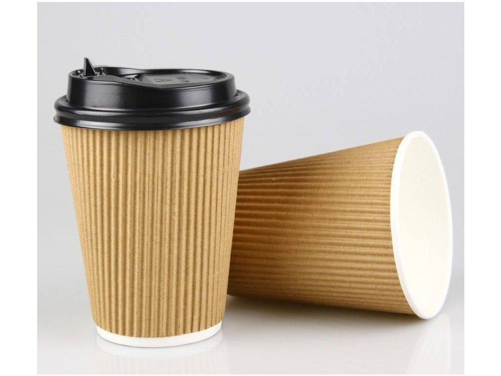 AVX Hnedé ripple papierové poháre 8oz-250/200ml 25ks