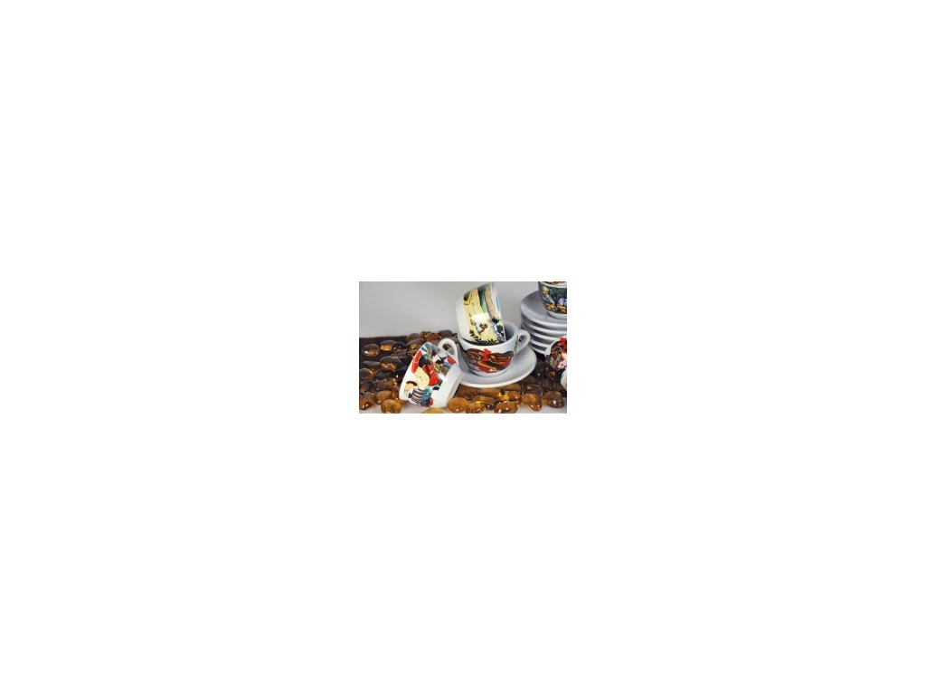CLUBHOUSE šálky cappucino s podšálkem ROSA ORIGINI sada 6 ks