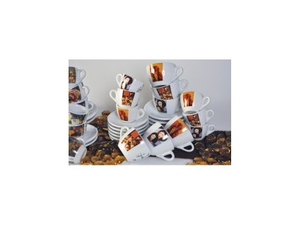 CLUBHOUSE šálky cappuccino s podšálkem ROSA PAINTING sada 6 ks