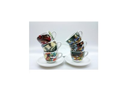 CLUBHOUSE šálky espresso s podšálkem ROSA ORIGINI sada 6 ks