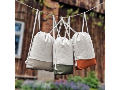 vandr bavlněný stahovací vak pytel batoh backpack batůžek záda výlet vodě města školy tělocvik sport jóga popruhy přírodní pevný bavlna jednoduchý minimalismus