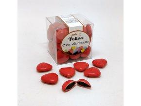 Čokoládová srdíčka - romantická červená