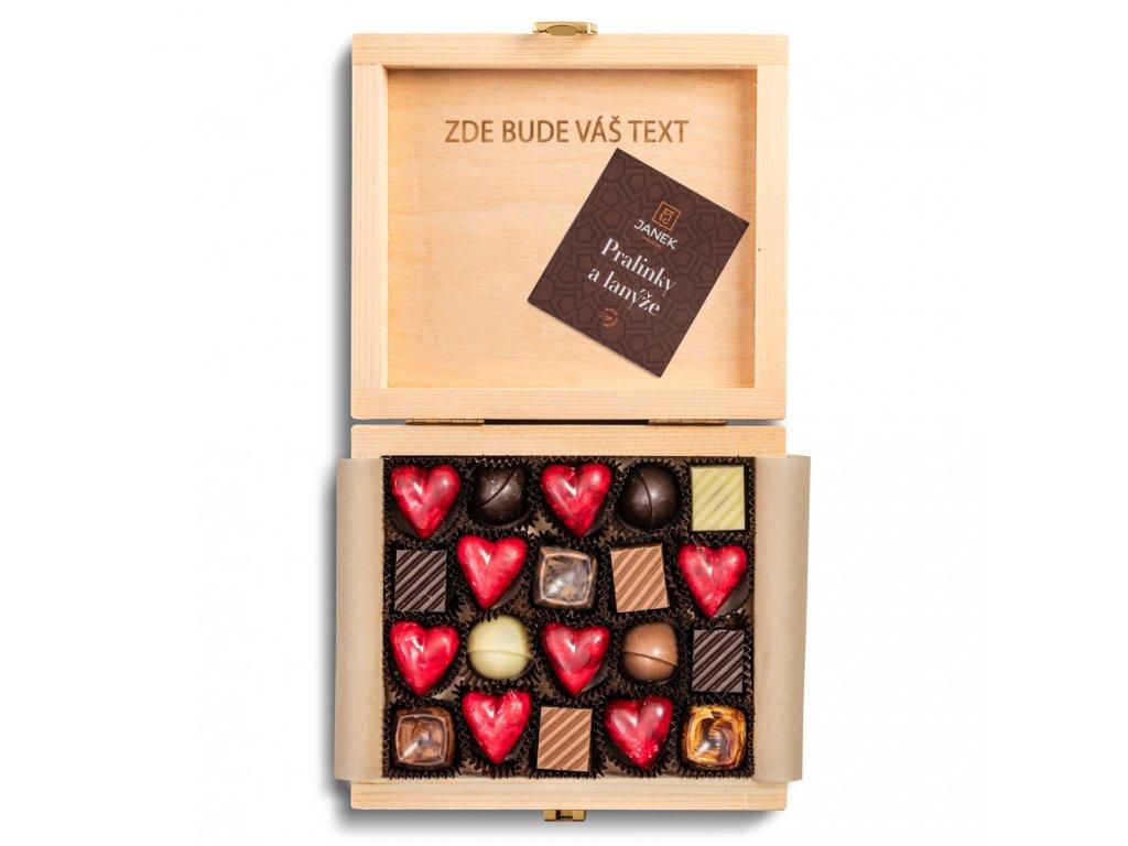 gravirovani text na prani majova krabicka maj laska pralinka cokoladovna janek