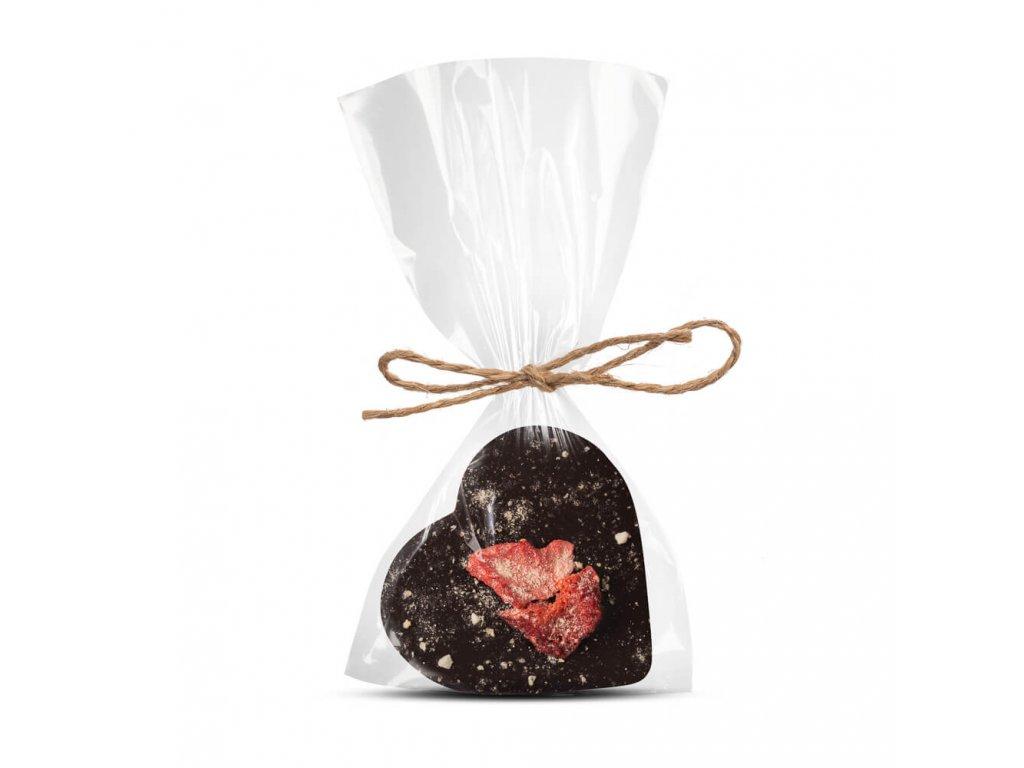 horke cokoladove srdicko 64 procent s jahodou a bananem cokoladovna janek