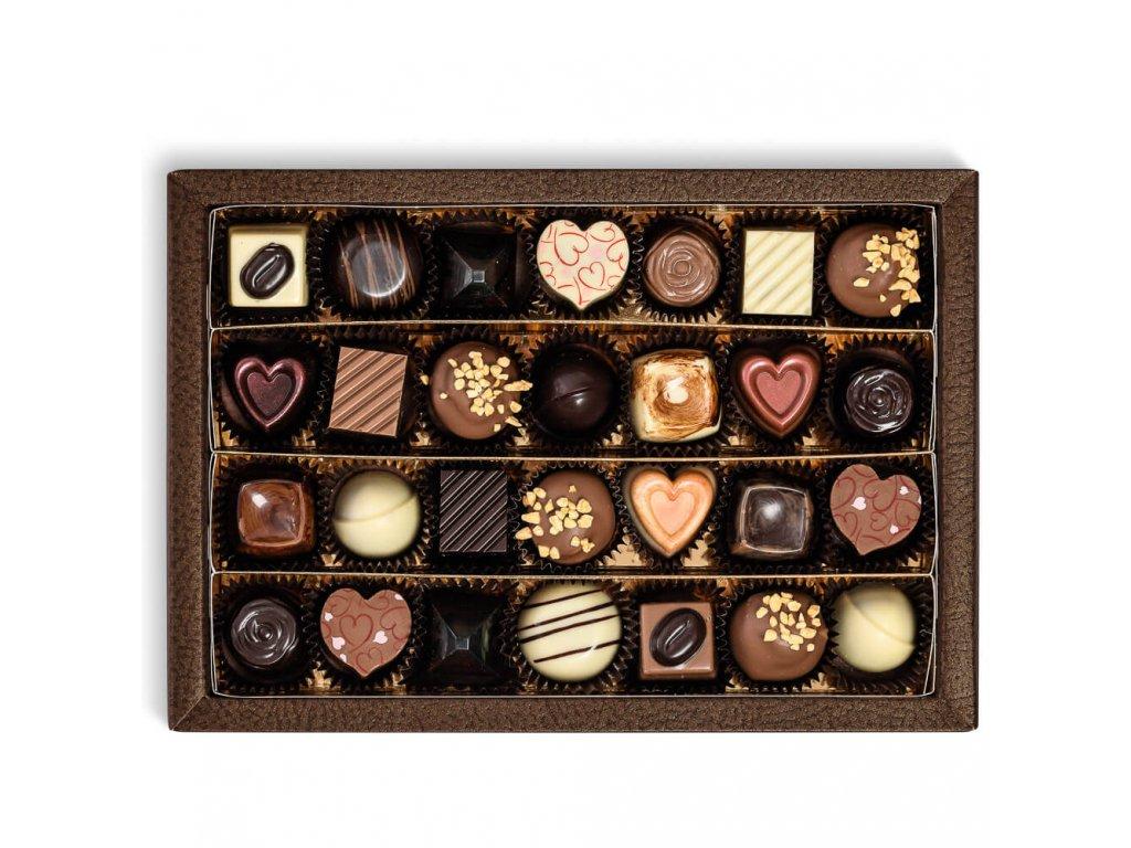 krabicka s 28 kusy pralinek a lanyzu cokoladovna janek.jpg