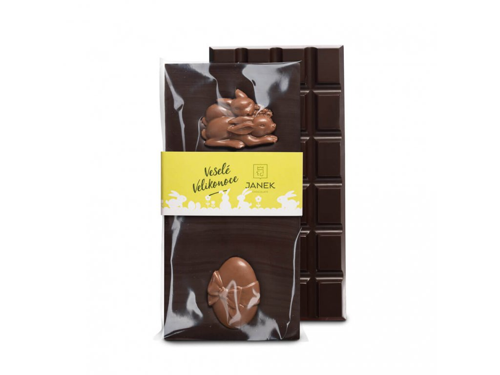 tabulka horke cokolady 64 procent s velikonocnimi postavickami cokoladovna janek.jpg