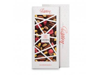 tabulka horke cokolady passion 72 procent s pistaciemi malinami pekanovymi orechy cokoladovna janek.jpg