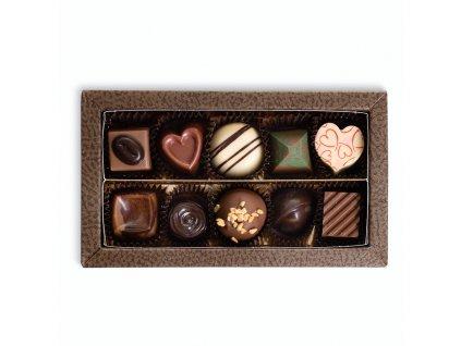 krabicka s 10 kusy pralinek cokoladovna janek