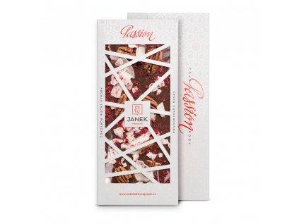 tabulka mlecne cokolady 41 procent s kokosem malinou pekanem cokoladovna janek