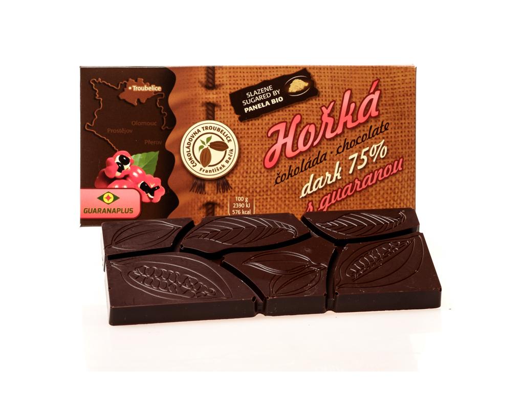Čokoláda hořká 75% s GUARANOU, 45 g , Čokoládovna Troubelice