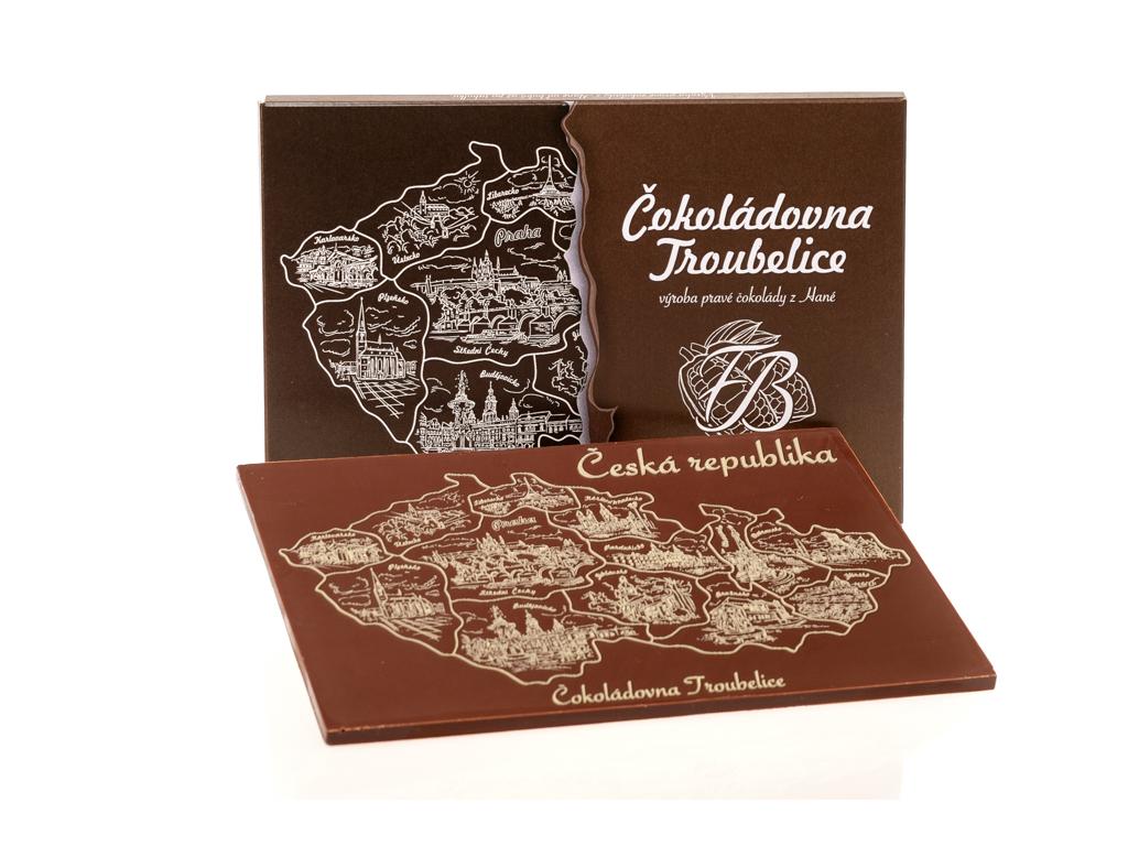 Velká čokoláda s reliéfem MAPA ČR, 120g