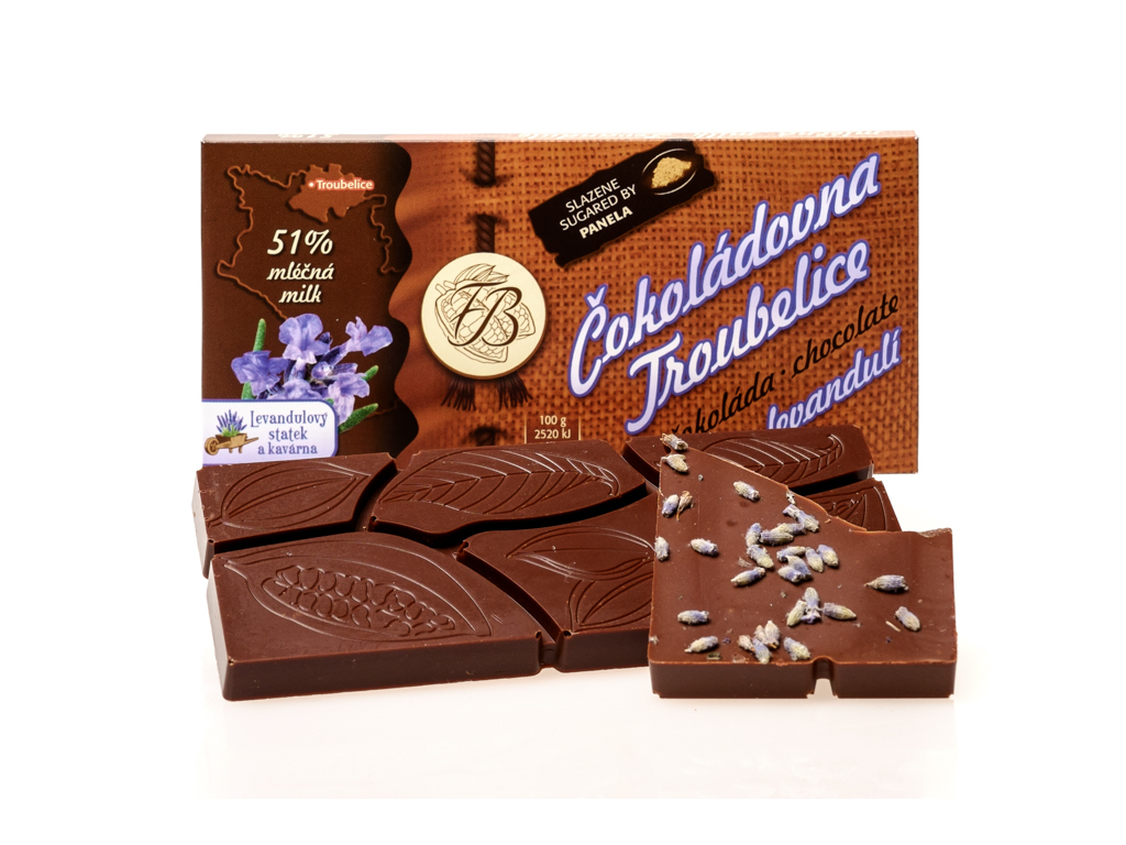 Čokoláda mléčná 51% s LEVANDULÍ, 45 g, Čokoládovna Troubelice