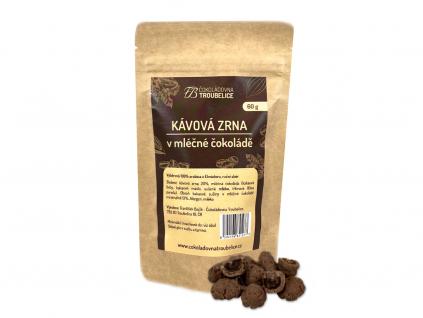 kavova zrna v mlecne cokolade
