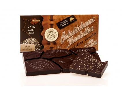 Čokoláda hořká 75% s CHIA SEMÍNKY, 45 g, Čokoládovna Troubelice