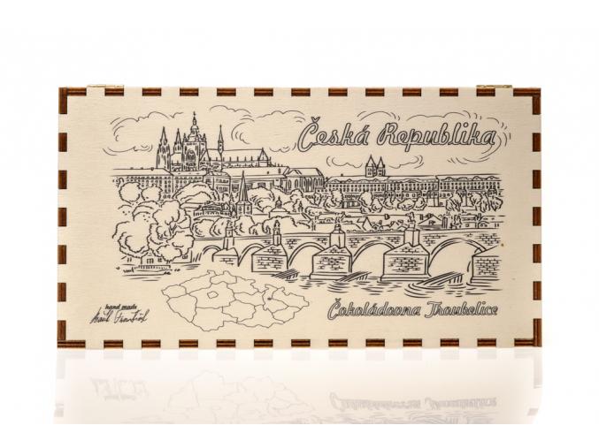 Dřevěná kazeta s čokoládami - Praha, Čokoládovna Troubelice