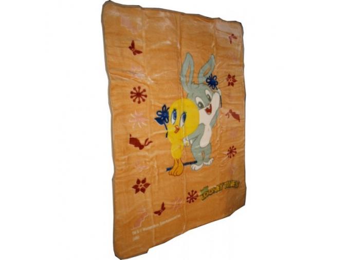 Deka španělská BABY TWEETY A BUGS  - rozměr 110 x 140 cm