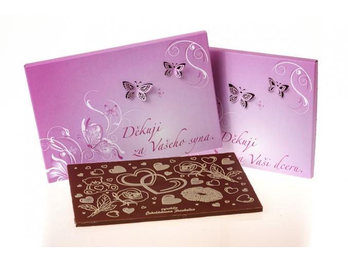 """Čokoláda SVATBA """"DĚKUJI ZA DCERU"""" - fialová motýlci, 120g"""