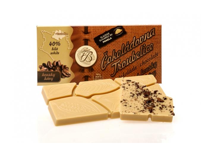 Čokoláda bílá 40% s KÁVOVÝMI ZRNY, 45 g, Čokoládovna Troubelice