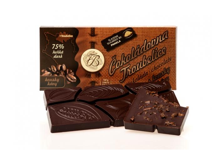 Čokoláda hořká 75% s KÁVOVÝMI ZRNY, 45 g, Čokoládovna Troubelice