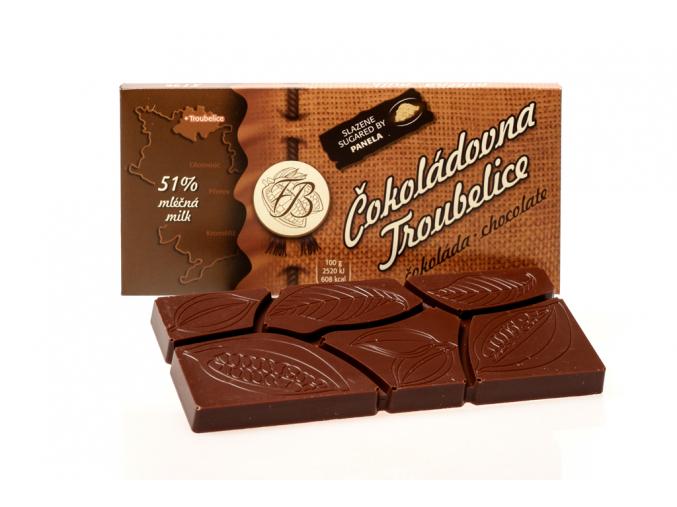 Čokoláda mléčná 51%, 45 g, Čokoládovna Troubelice