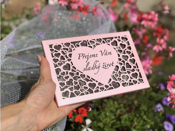 Čokoláda SVATBA - perleť růžová srdce, 120g