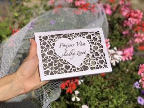 Čokoláda SVATBA - perleť fialová srdce, 120g