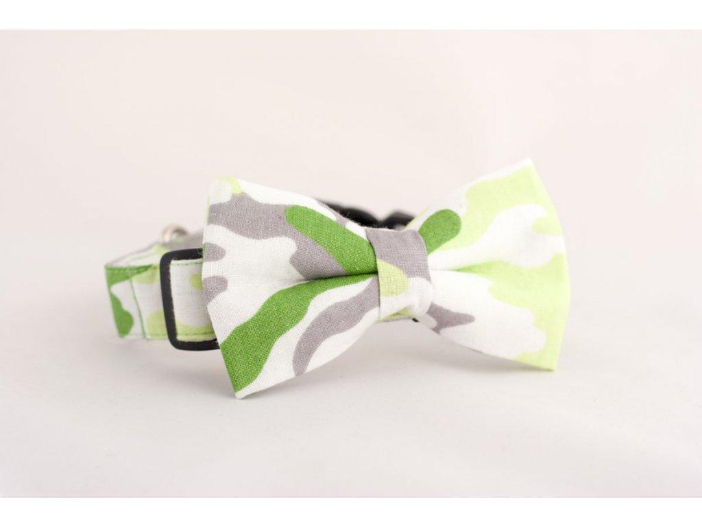 Obojek zelený maskáč pro pejska + motýlek